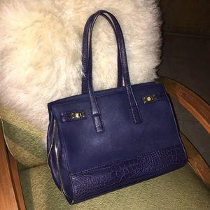 NEW olivia + joy Navy Leather reptile shoulder bag